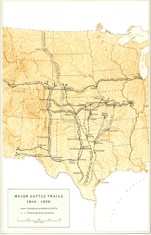 Cattle Trails of the Ameircan West Map
